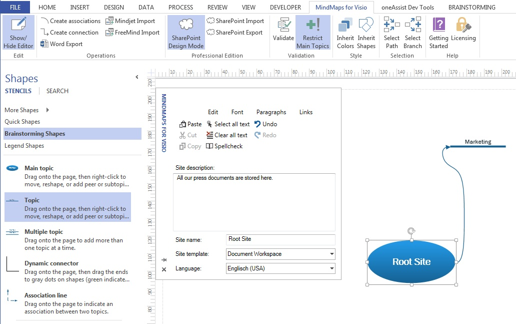 The Professional Edition allows the creation of SharePoint Website structures via a mind map.