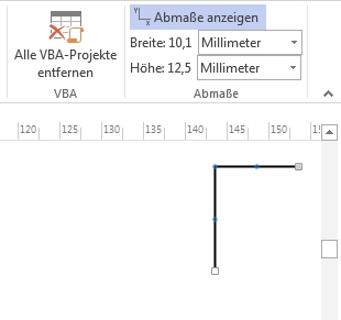 The Visio Tools display the shape size of 1D shapes in multiple units.