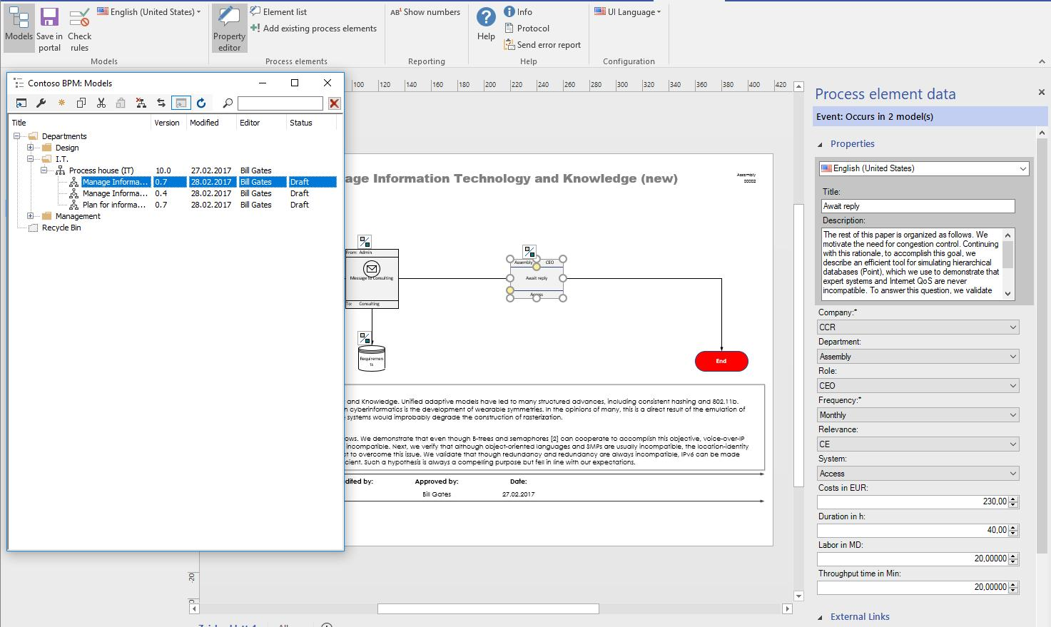 Our add-in integrates into the Microsoft Visio interface and allows access and editing of process models.
